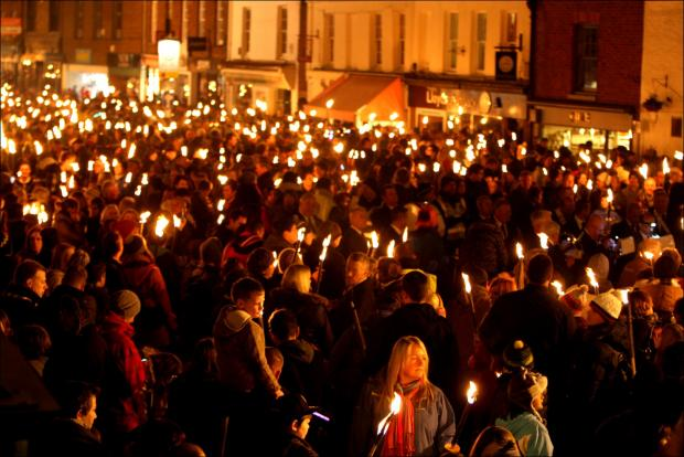 Hampshire Chronicle: Winchester Torchlight Procession.
