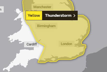 Thunderstorms warning remains in force for Hampshire (but 24C is expected later this week)