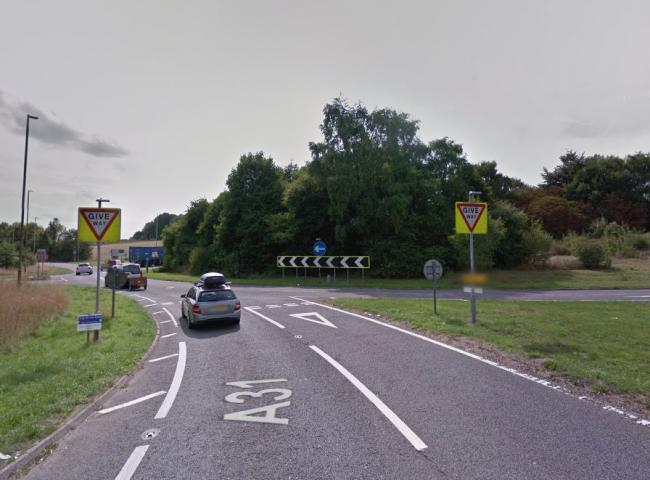 The A31 at the Chawton Roundabout. Google Street View.