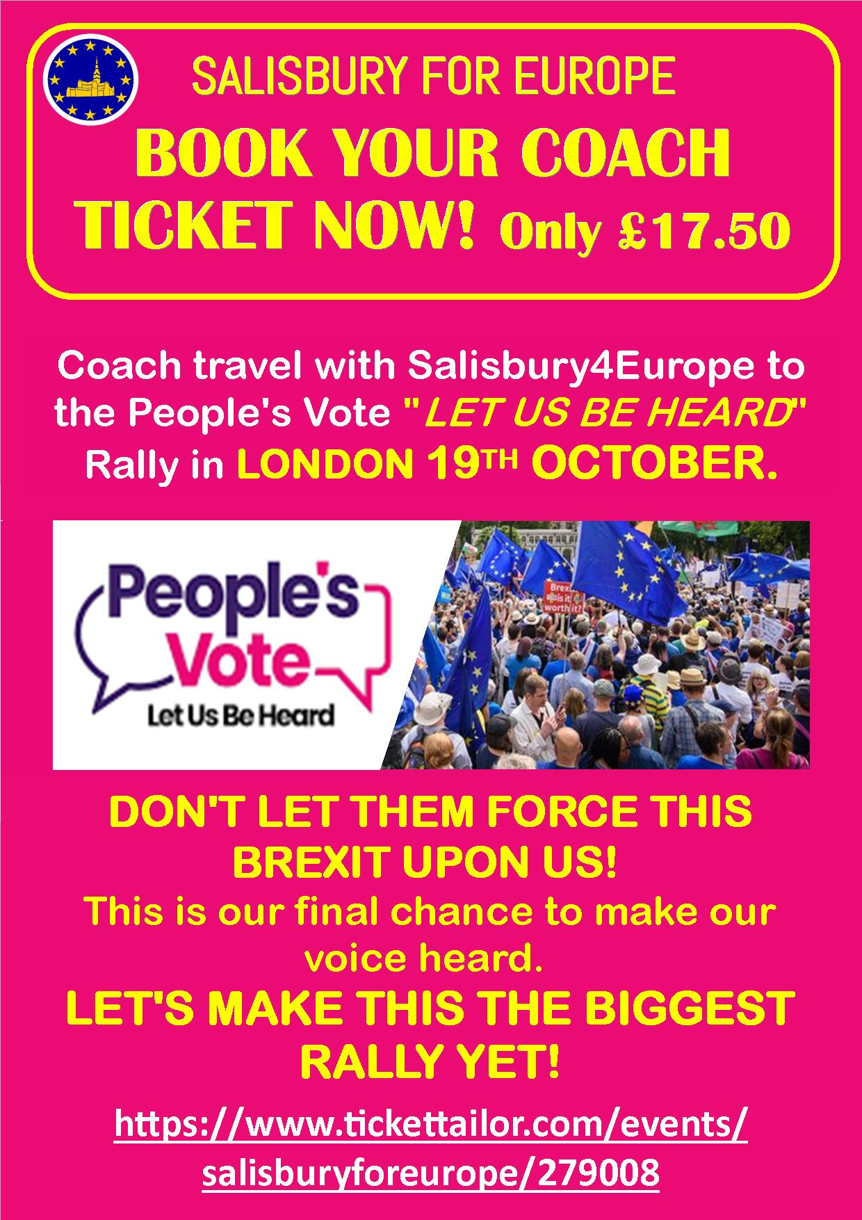 PEOPLE'S VOTE 'Let Us Be Heard' LONDON RALLY Coach Tickets
