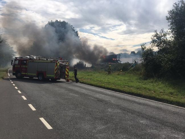 Combine harvester fire Bishop Sutton Road