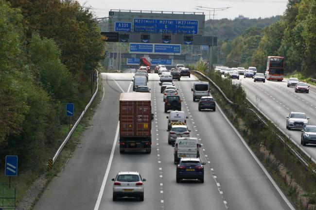 The M3 motorway at junction 13 near Eastleigh