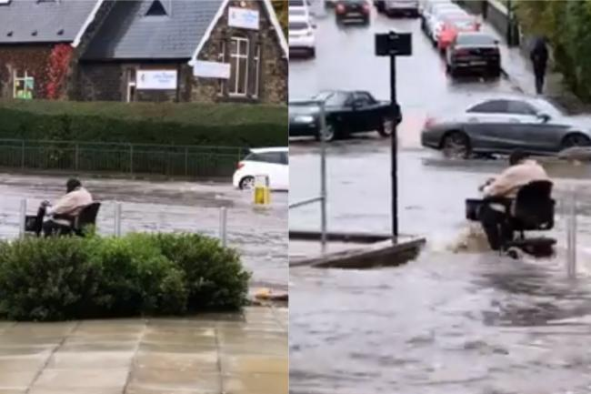 The moment the mobility scooter driver entered the flooding