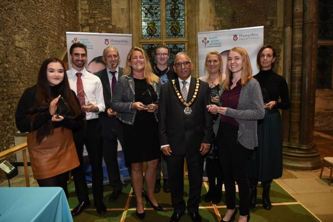 From left to right: Rebecca Anders, Neil Redman, John Cookson, Joanne Martin (Shared Services), Eric Mahoney, Cllr Choudhary, Sarah Gerrard, Elizabeth Gilbert, Leah Arkley. Apprentice award winners with Chairman of the Council Cllr Charles Choudhary.