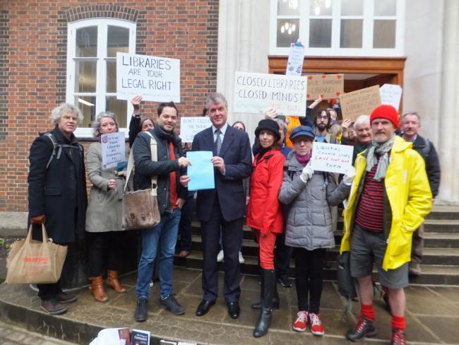Hampshire Authors for Libraries presenting an open letter to Cllr Sean Woodward