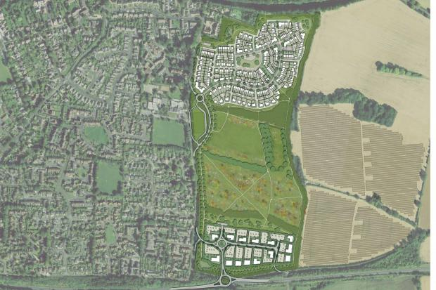 An illustration of the site for 320 homes and employment land and public space in land east of Sun Lane, Alresford.