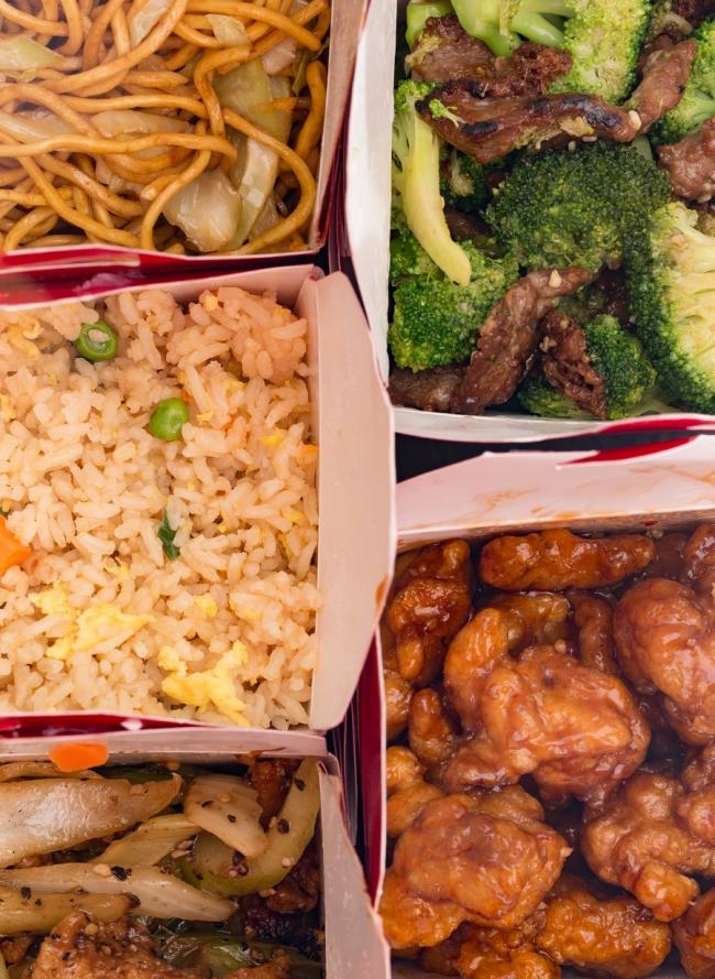 Collage of Chinese Food in Take Out Containers.
