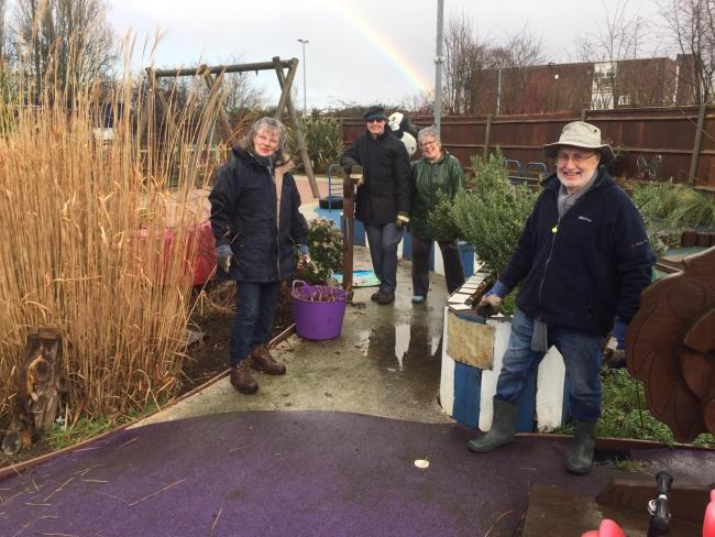 The Meon Valley Lions help clean up the Rainbow Centre