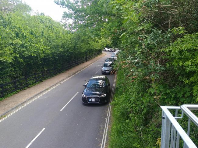 Queue of cars outside the Winchester Recycling Centre