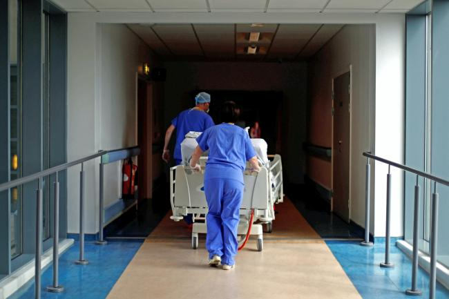 A patient is transferred at hospital