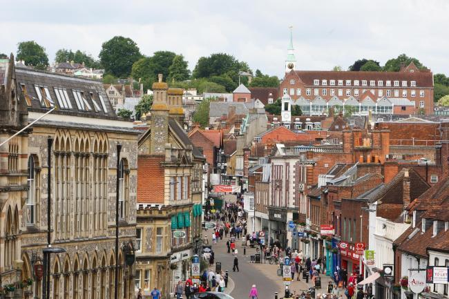 Rachel Adams 23.6.15 Winchester High Street from the top of the King Alfred statue.