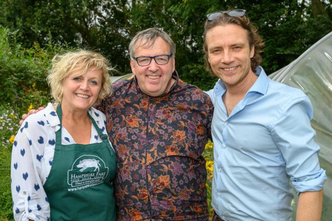 Tracy Nash, Hampshire Fare, Mark Wildman, Headteacher, and Oli Blanc, at launch of British Food Fortnight at Wicor School 2019 © The Electric Eye Photography.