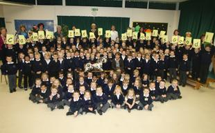 HOORAY! Calmore Infant School celebrating a good Ofsted report.  	Echo picture by Matt Watson. Order no: 9749839