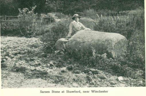 Sarsen stone, said to be at Shawford in the 1920s
