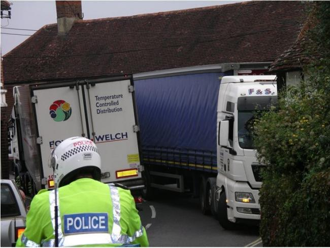 Lorries at the bottom of Broad Street in Alresford
