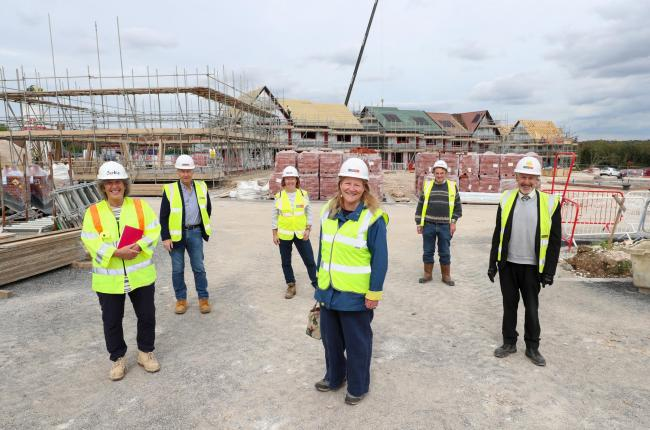 Councillors and project members at the Top Field development in Kings Worthy