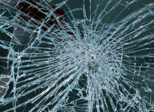 File photo of a smashed window