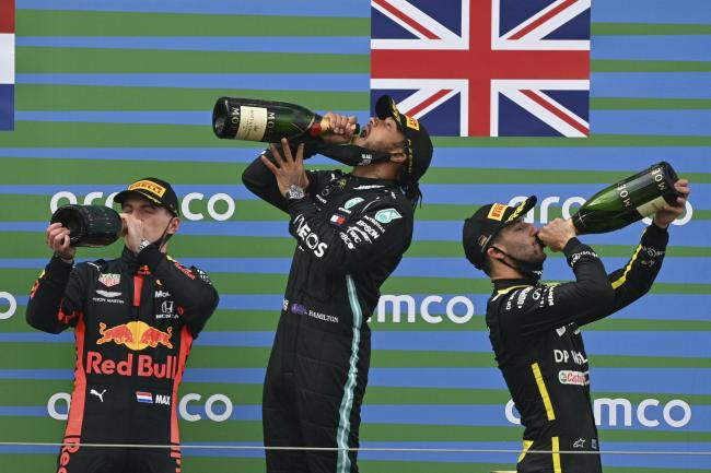 Mercedes driver Lewis Hamilton is hoping to taste more champagne on Sunday