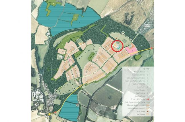 A map of Royaldown, by Keep Architects. Circled - the two schools proposed at Down Farm