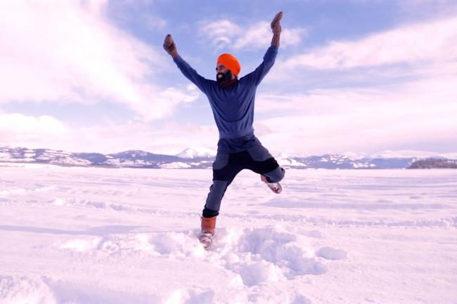 Yukon man shares delight in Covid vaccine by bhangra dancing on frozen lake