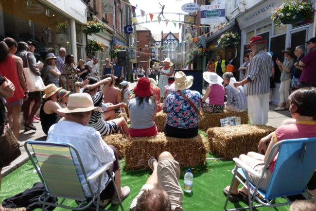 Poetry at the Hat Fair in Winchester City Centre