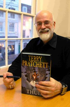 Sir Terry Pratchett at a book signing in 2005