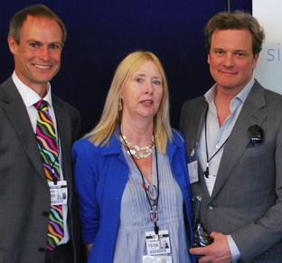 Hampshire Chronicle: THANKS: Colin Firth with former teacher Penny Edwards and Barton Pevril principle Jonathan Prest.
