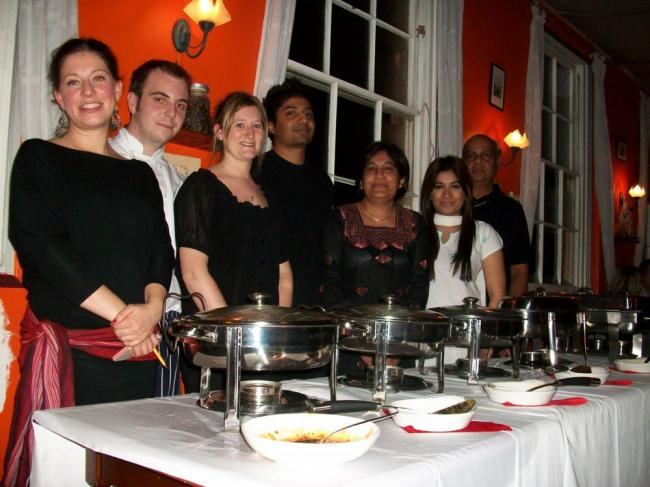 Left to right: Tilly Johnston, James Swaffield and Kate Larden of Forte Tea Rooms and Tariq Salih, Haleema Salih, Ameera Salih and Shan Salih of Sri Lankan Cuisine based in Chandler's Ford