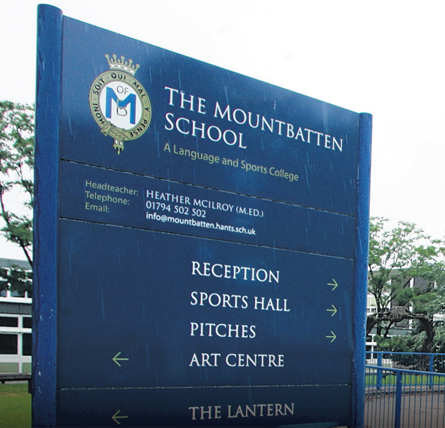 Mountbatten School, Romsey, where the charity gig was to take place