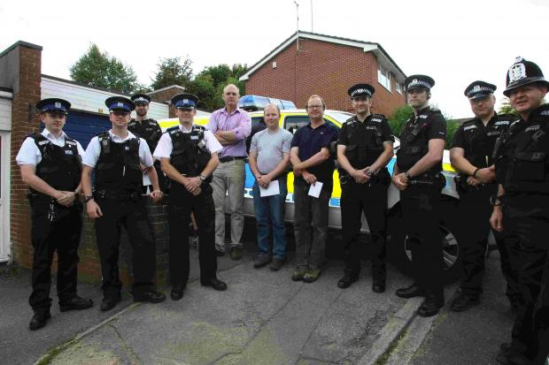 Officers outside Twyford police station before its closure