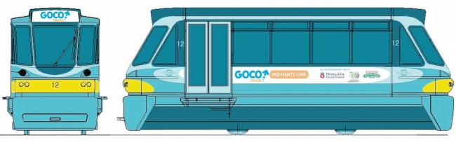 An artist's impression of the new railcar that will operate between Four Marks, Medstead and Alton