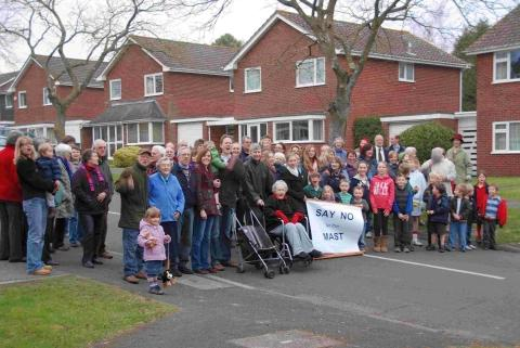 Abbotts Barton residents gather to protest plans to build a mobile phone mast