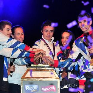 Athletes Karina Bryon, Max Whitlock, Sophie Hasking, Steven Burke, Beth Tweddle and Luke Campbell switch on the Blackpool Illuminations