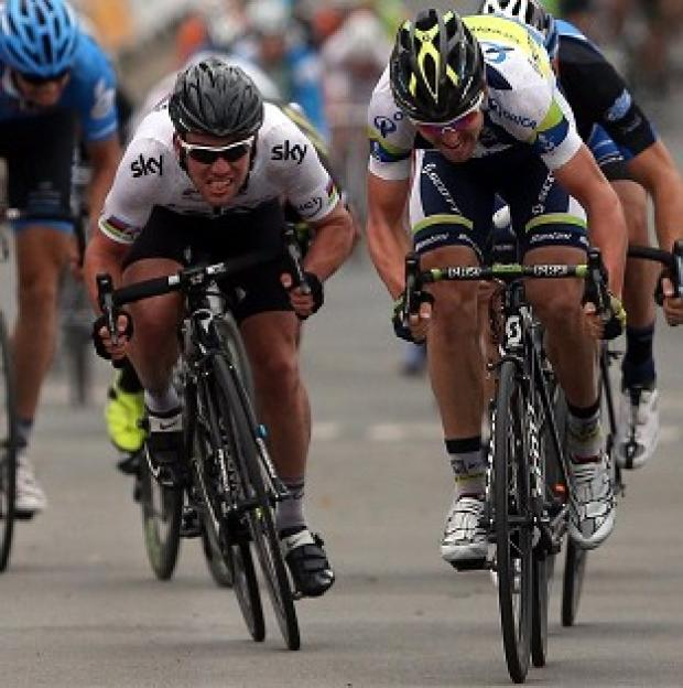 Mark Cavendish, left, was beaten by Leigh Howard, right, after a sprint Tour of Britain finish on stage two