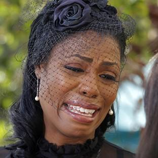 Michael Clarke Duncan's fiancee Omarosa Manigault at his memorial service in Los Angeles (AP/Nick Ut)