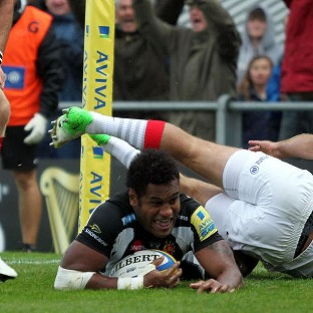 Sireli Naqelevuki scores Exeter's only try at Sandy Park