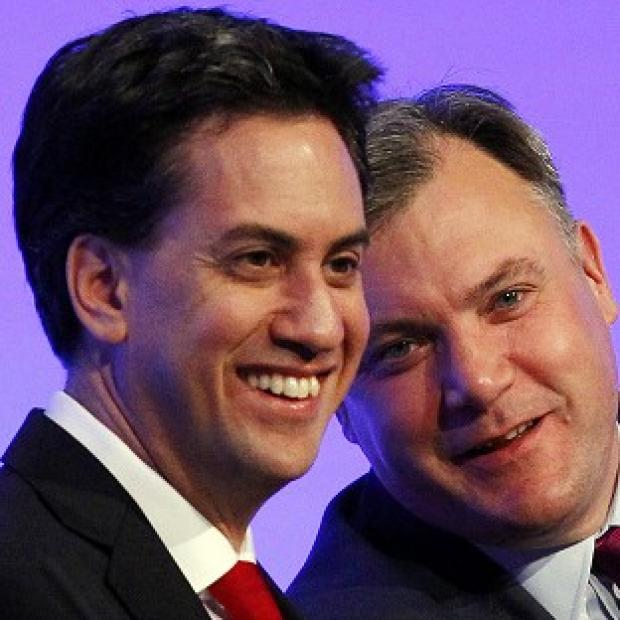 Labour leader Ed Miliband and shadow chancellor Ed Balls at the Labour Party Conference at Manchester Central