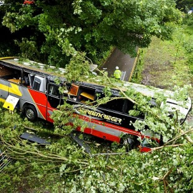 US rock band Baroness's tour bus plunged 30ft after skidding off the A38 in Somerset