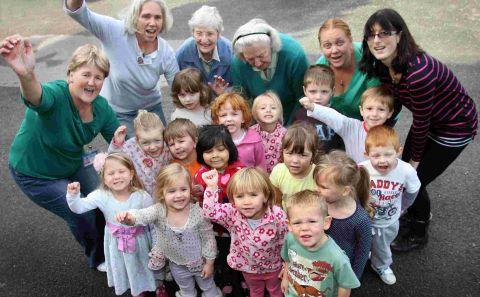 Staff and children from the 'outstanding' Stanmore St Luke's Playgroup