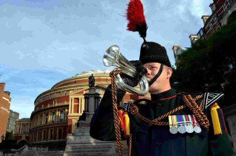 Lance Corporal Gareth Merchant outside the Royal Albert Hall