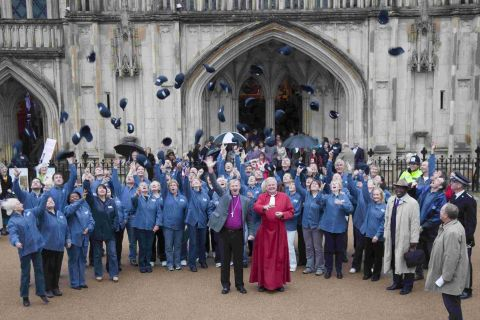 Street pastors outside Winchester Cathedral after a service to celebrate its launch last year
