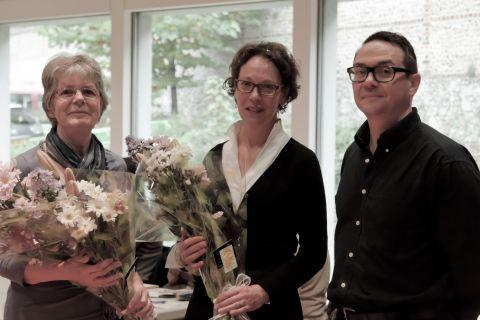 (Left-right) Jane Clark and Jenny Dixon receive flowers from Discovery Centre manager Graeme Pick
