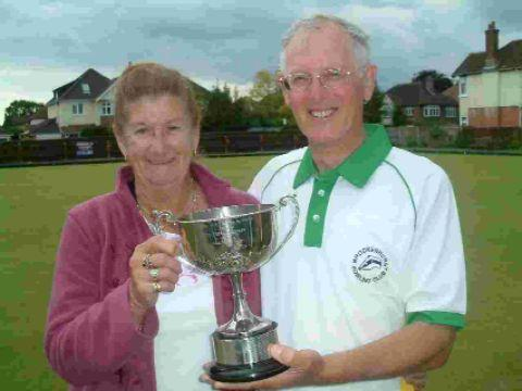 Dian Place congratulates husband Derek after he won the Bowls Hampshire secretaries' title at Atherley