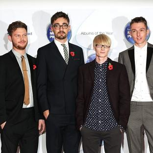 Joe Newman, Gus Unger-Hamilton, Gwil Sainsbury and Thom Green of Alt-J arriving for the Mercury Prize at the Roundhouse in Camden