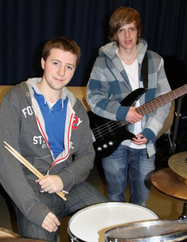 Last year's competition winner Matthew Arnold (drums) and runner-up bass guitarist Sam Ingvorsen