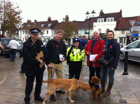 Steve Brine in Alresford, with PC  Ben Stoneley (left)