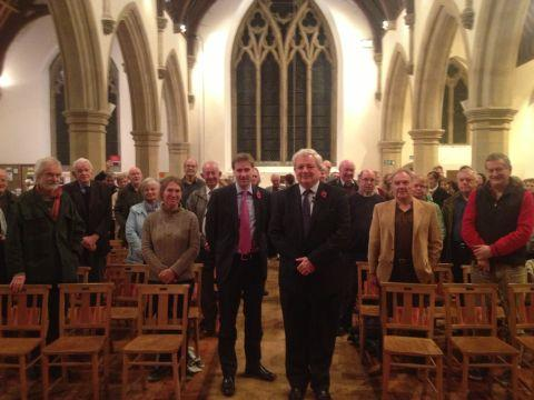 Hampshire Chronicle: MPs Steve Brine (centre left) and Stephen O'Brien at the meeting in St Paul's Church, Fulflood