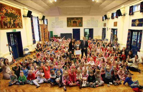 Stanmore Primary School children celebrate raising more than £700 for Royal Hampshire County Hospital
