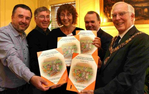 (L-r) Some of the books authors Steven Teague, Ken Qualmann and Helen Rees with Brian Kerr of funders English Heritage and Mayor of Winchester Frank Pearson
