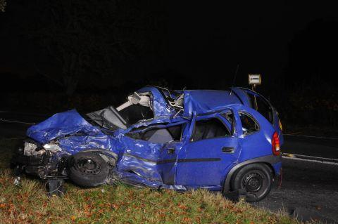 The blue Vauxhall Corsa involved in the fatal accident in November 2011